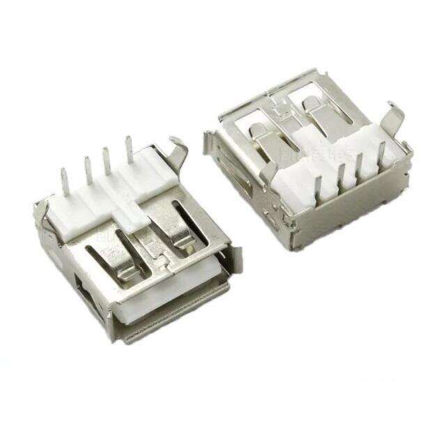 Free shipping 20PCS Right Angle 4 Pin USB Type A Standard Port Female Plug Jacks Connector PCB Socket USB-A type