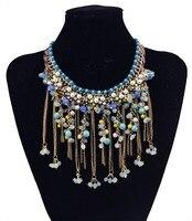 Bohemian Handmade Boho Wood Bead Pearl Natural Stone Big Chunky Necklaces Vintage Coloares Mujer Metal Tassel