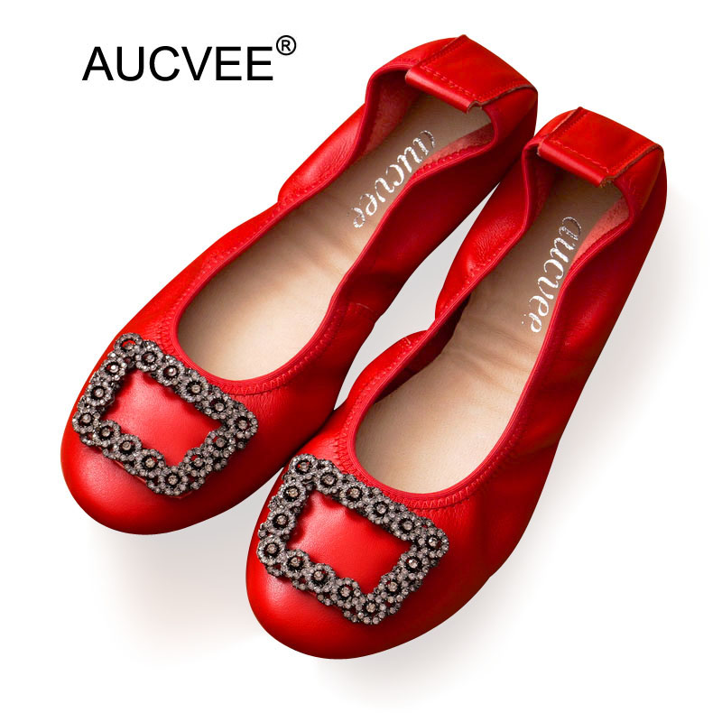 2018 Spring women flats casual shoes big size 43 female loafers genuine Leather lady shoes slip-on ballet flat women's Shoes red cresfimix women cute spring summer slip on flat shoes with pearl female casual street flats lady fashion pointed toe shoes