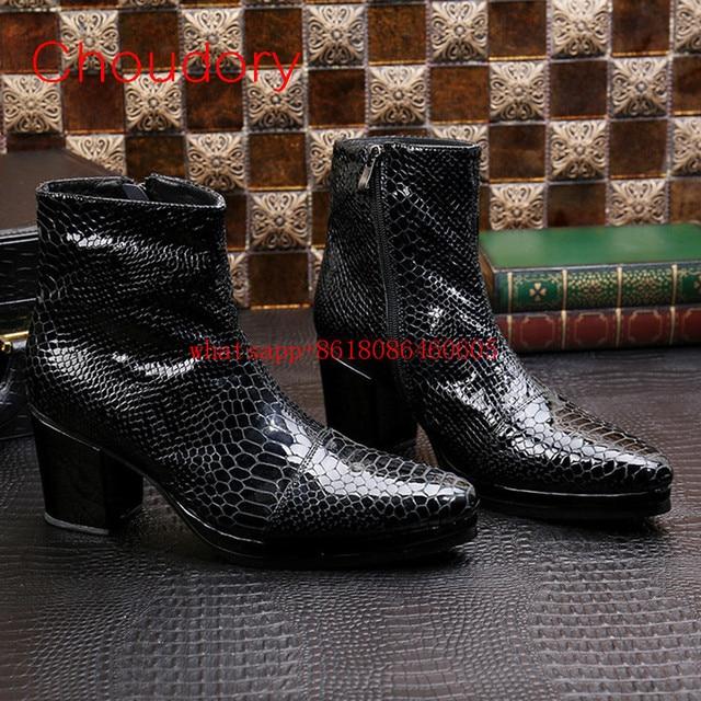 Choudory Erkek yüksek topuklu ayakkabı yarım çizmeler yılan derisi hakiki deri askeri botlar büyük boy yağmur çizmeleri erkek kovboy çizmeleri