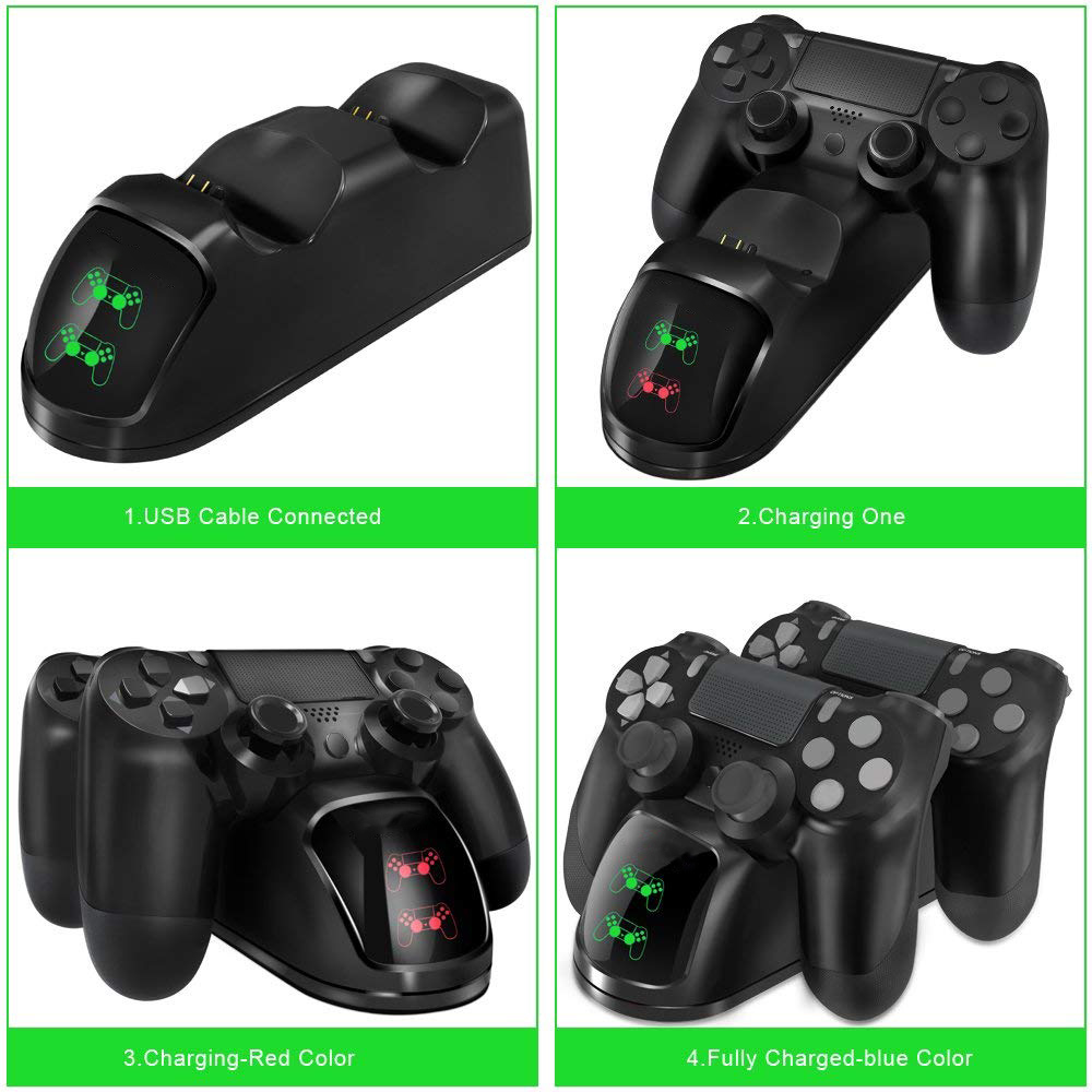 PS4 Controller Joypad Joystick Handle USB Charger Dual USB Fast Charging Dock Station for Playstation 4 PS4 Slim / PS4 Pro 2