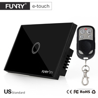 Funry US Standaard Remote Switch Crystal Glass Panel Muur Licht Touch Switch 1 Gang 1 Manier