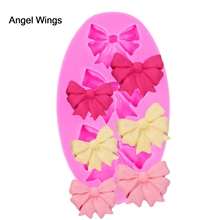 Angel Wings Food grade 3D fondant cake silicone mold Bow for Reverse forming polymer clay chocolate pastry decoration tools 1208
