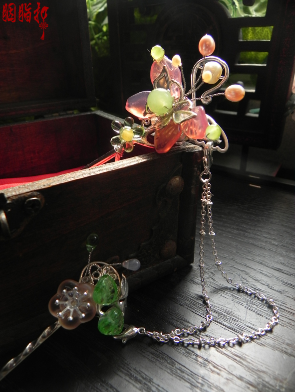 ФОТО Colored glaze butterfly tassel hair stick and hair pin costume hair accessory handmade hair jewelry