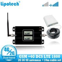 Повторитель сигнала Lintratek GSM 900 4G DCS 1800, 1800 МГц, Мобильный усилитель сигнала, двухдиапазонный ретранслятор сигнала сотовой связи LTE 4g