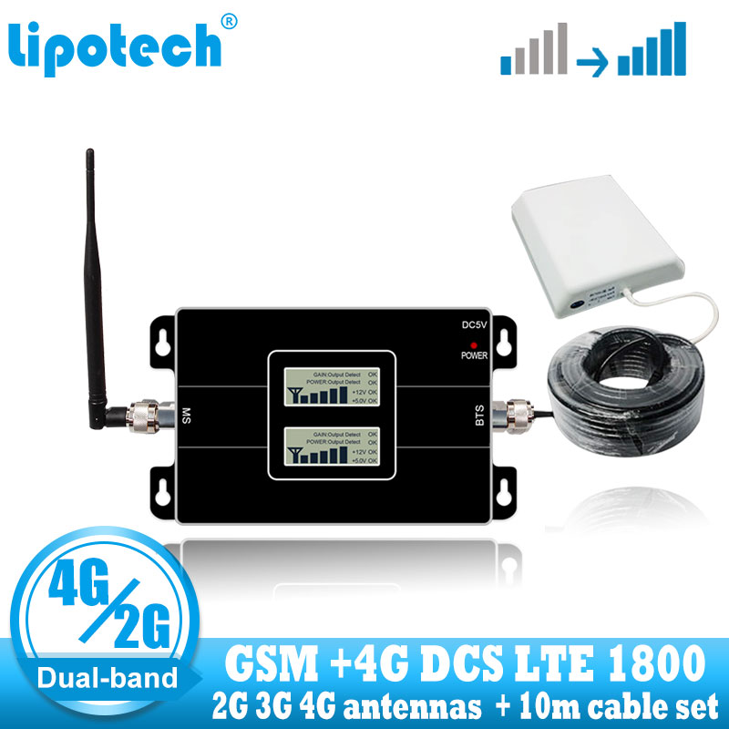 Lintratek GSM 900 4G DCS 1800 Repeater GSM 1800mhz Mobile Signal Booster Amplifier Dual Band Cellular LTE 4g Signal Repeater