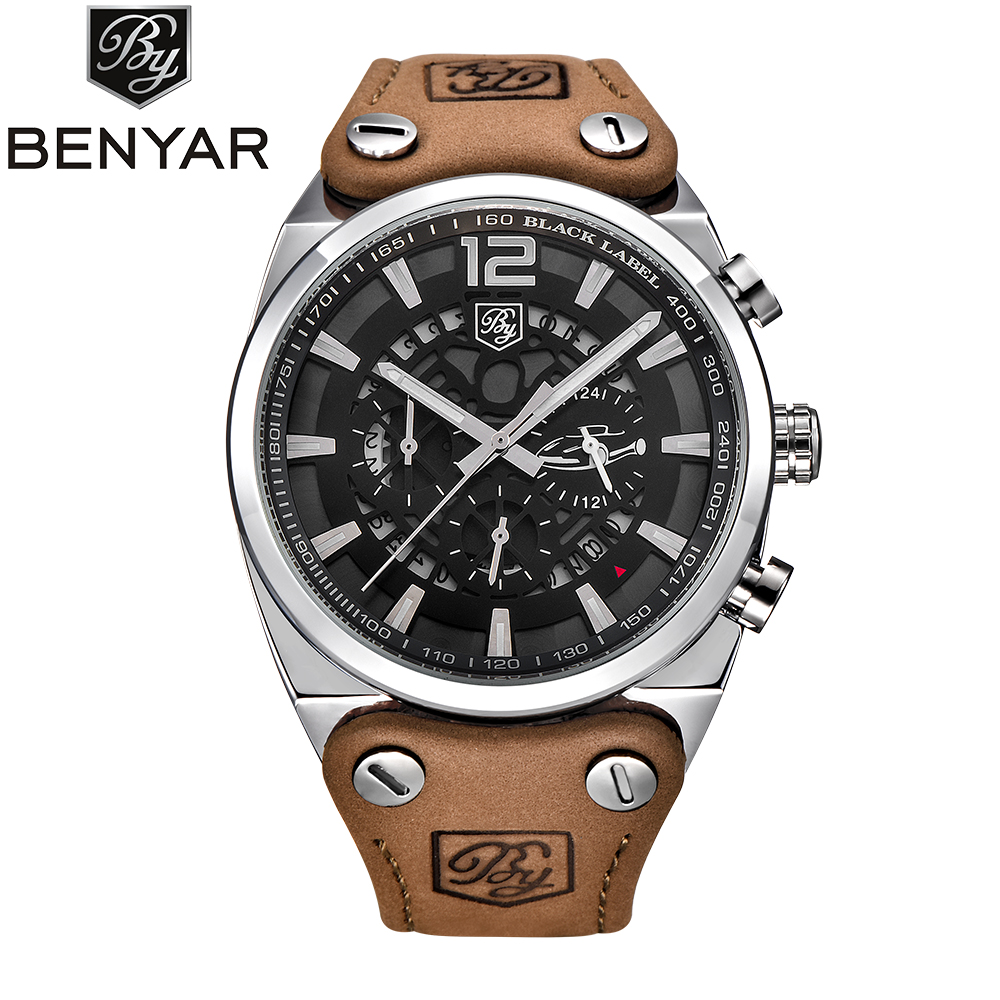 BENYAR Luxury Brand Chronograph Sport Men Watches Reloj Hombre Fashion Military Waterproof Quartz Watch Clock Relogio Masculino