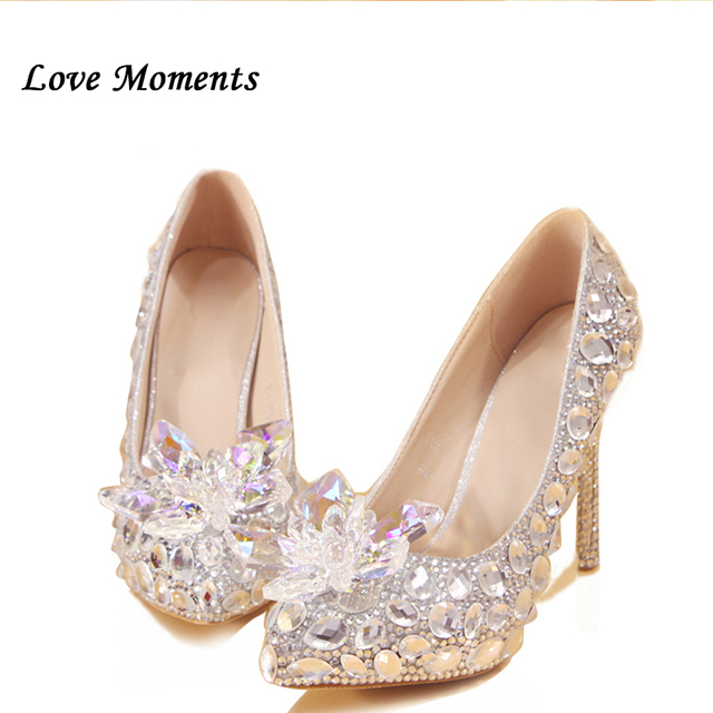 3cbe4e04df US $49.5 10% OFF|New arrival luxury princess slipper white big rhinestone  pointed toe crystal women's wedding shoes stage platformance pumps-in ...