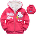 1pc Retail Baby girls Cartoon Hello Kitty Winter fur coat,children outerwear,girls cotton thick warm hoodies jacket kids clothes