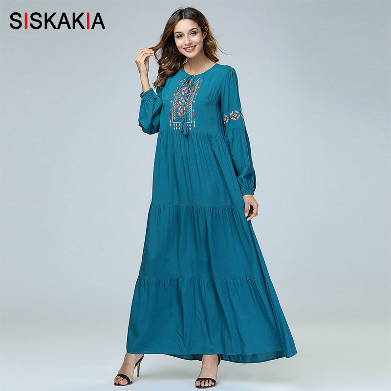 c4b9f6ea112 Siskakia Vintage Ethnic Embroidery Women Long Dress High waist Swing long  Sleeve Dresses Autumn Fall 2018 Maxi Dress Dark Green -in Dresses from  Women's ...