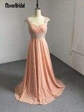 Rosa de pessego com contas robe demoiselle d'honneur longue sequin beaded pleated long peach wedding guest dresses