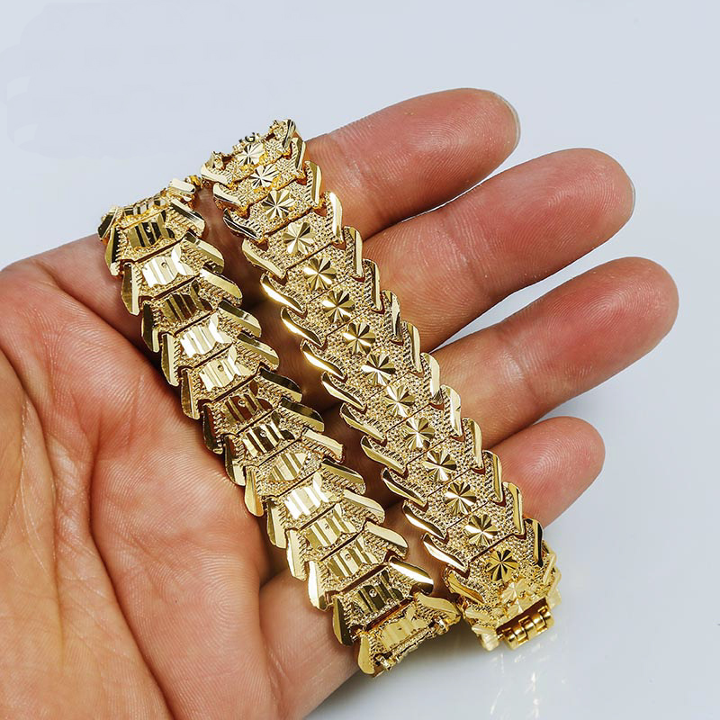 Gold Color Carved Bracelet Islamic Muslim Arab Bracelet for Women Men Middle Eastern Jewelry African Gifts Never Faded