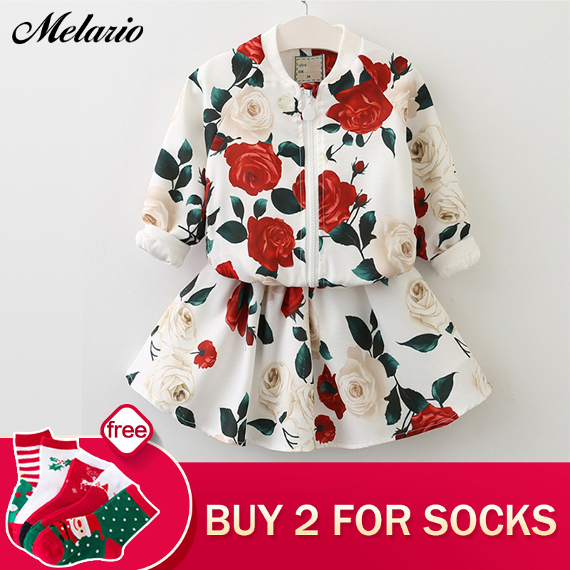 Girls Clothing Sets 2018 Fashion Girls Clothes Long Sleeve Floral Coats+Rose Floral Skirts Children Clothes Kids Clothing Sets 2018 spring girls clothing sets baby teenage kids girls clothes denim coats skirts long sleeve suits outwear 8 10 12 14 years