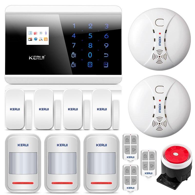 KERUI 8218G 1.7 pouces TFT écran tactile GSM PSTN système de sécurité d'alarme à domicile avec aimant de porte et détecteur de fumée de mouvement