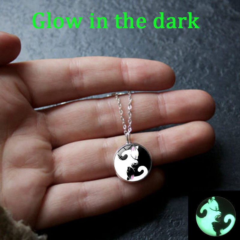 XUSHUI XJ Glow In The Dark Two Yin Yang Cats Glass Cabochon Pendant Necklace Silver Plated long chain necklace Glowing Jewelry