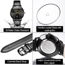 OLEVS Ultra thin Fashion Male Wristwatch Leather Watchband Business Watches Waterproof Quartz Date Men Watch Clock Black G5869P