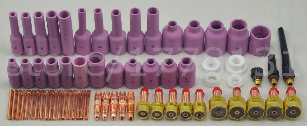 FREE SHIPPING TIG Consumables Kit Gas Lens Fit SR WP17 18 26 Excellent Quality Tig Torch Welding Alumina Nozzle & Collet Body chinese brand welding tig torch body tig consumables manager recommended fit sr wp17 18 26 67pk