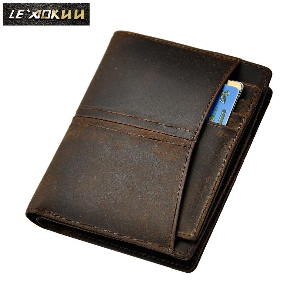 Անասնաբուծական ապրանքանիշի օրիգինալ կաշվե կարճատև այցեքարտի տուփ Տղամարդկանց դիզայներ Fashion Zipper ուղղահայաց դրամապանակի դրամապանակ Hipster 7703