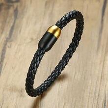 Модные черные кожаные мужские браслеты золотого и черного цвета