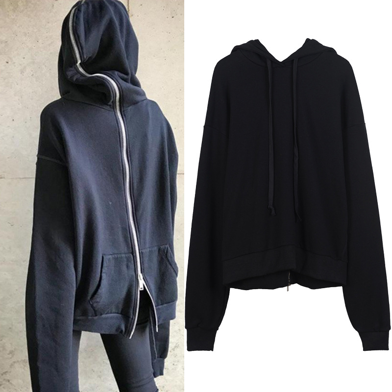 New autumn of 2017 personality Zip Hooded Jacket wear loose all-match two sweater