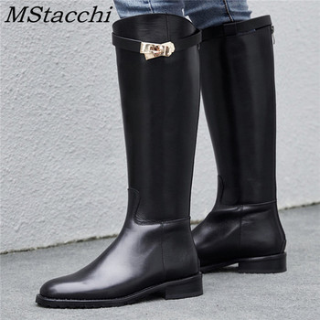 MStacchi Women Motorcycle Shoes Woman Shark Buckle Long Boots Sexy Mujer Zipper Casual Flat Shoes Round Toe Real Genuine Leather
