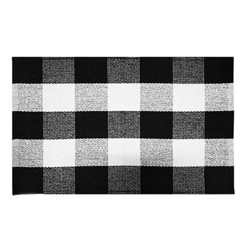 LBER Cotton Buffalo Plaid Rugs,Buffalo Check Rug,23.6Inch x35.4Inch,Checkered Outdoor Rug,Outdoor Plaid Doormat For Kitchen/Ba