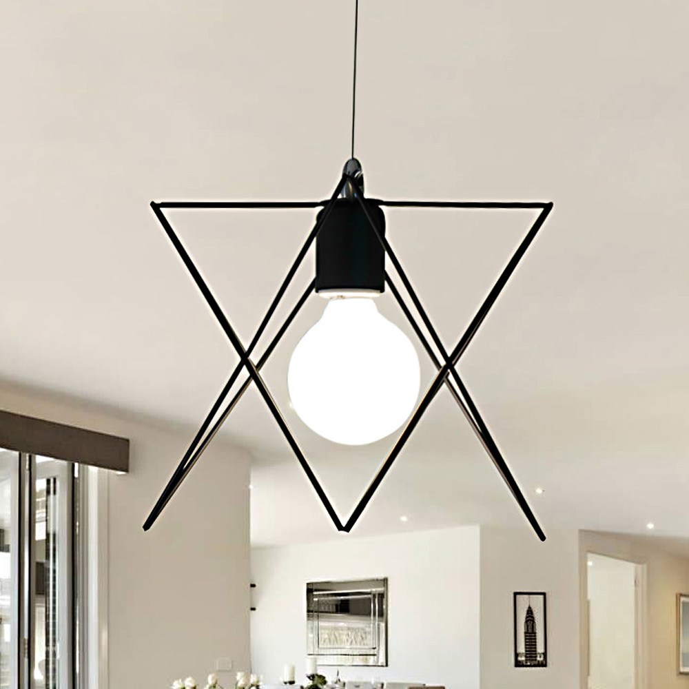 Good High Fashion Home Pendant Lamps Modern Iron Structure Triangle Pendant Light  Retro E27 Bulb Lighting Home Indoor Light Fixtures