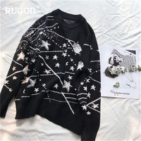 RUGOD 2018 New Fashion Women Pullovers Casual O Neck Loose Women Sweaters Knitted Winter Clothes truien dames