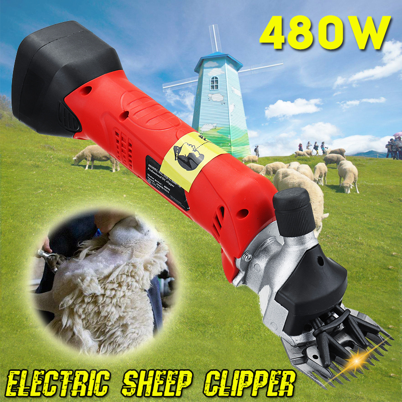480W Cordless Electric Sheep Shearing Clipper Scissors Shears Cutter Goat Wool Clipper Machine 4 teeth+13 teeth blade 110V-220V new 680w sheep wool clipper electric sheep goats shearing clipper shears 1 set 13 straight tooth blade comb