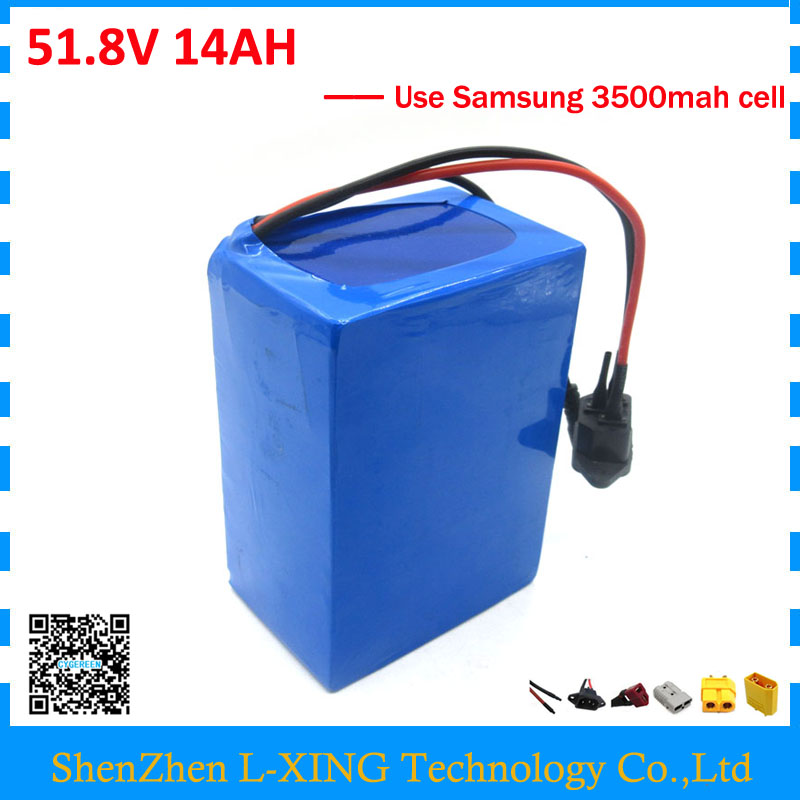 Free customs fee 52V 14AH battery 51.8V 14AH scooter battery 52V ebike battery use Samsung 3500mah cell 30A BMS with 2A Charger free customs taxes super power 1000w 48v li ion battery pack with 30a bms 48v 15ah lithium battery pack for panasonic cell