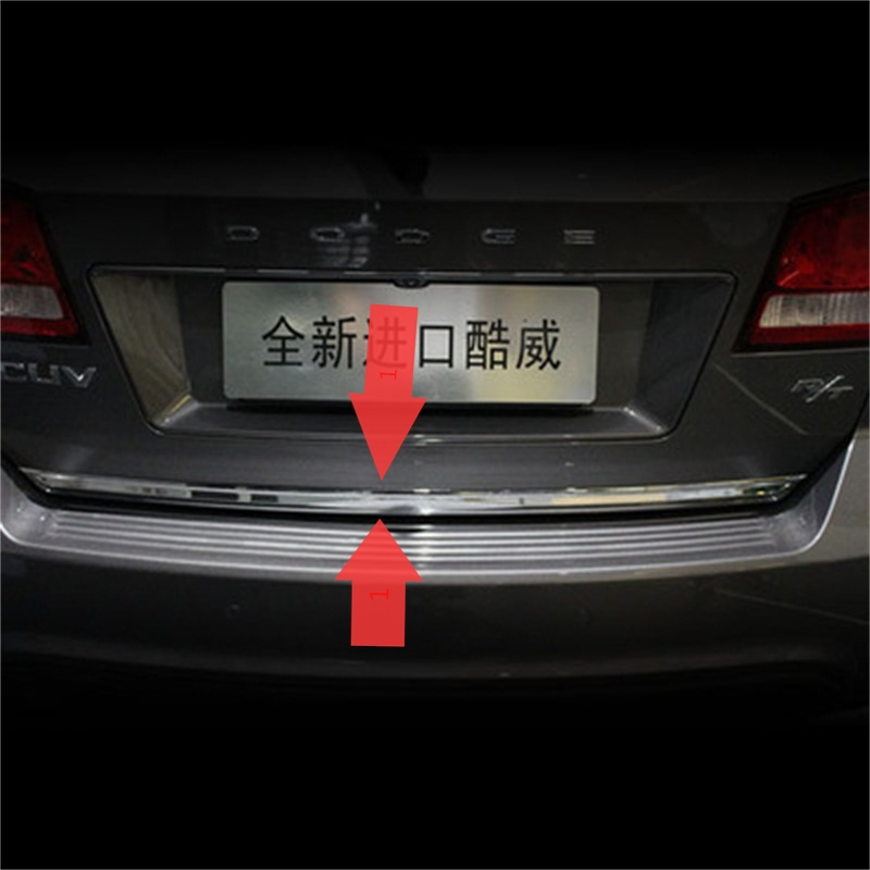 Exterior Fit For Dodge 2013 2014 2015 Journey Car Accessories Rear Trunk Trim Decoration ABS Chrome Bumper Door silver Cover 1pc car rear trunk security shield cargo cover for lexus rx270 rx350 rx450h 2008 09 10 11 12 2013 2014 2015 high qualit accessories