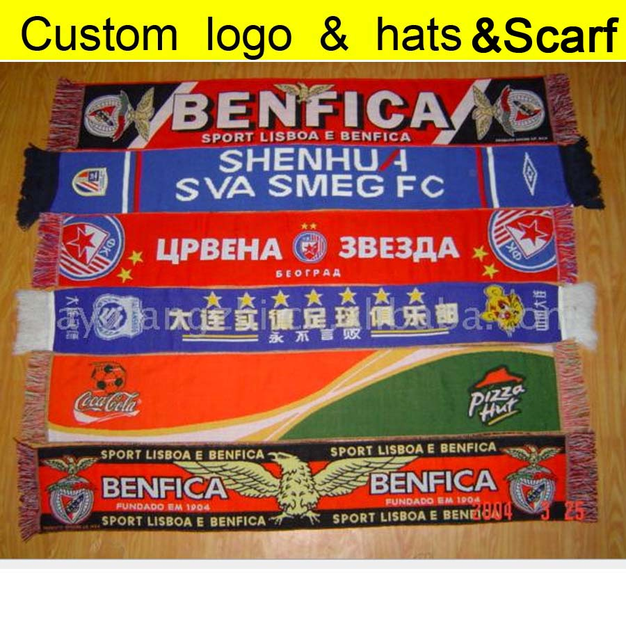 Factory Custom   Scarves   &   Wraps   Ball Fans Customized   Scarf   Adult Winter Soccer Ball Sewing LOGO Acrylic Fabric 200pcs A lot