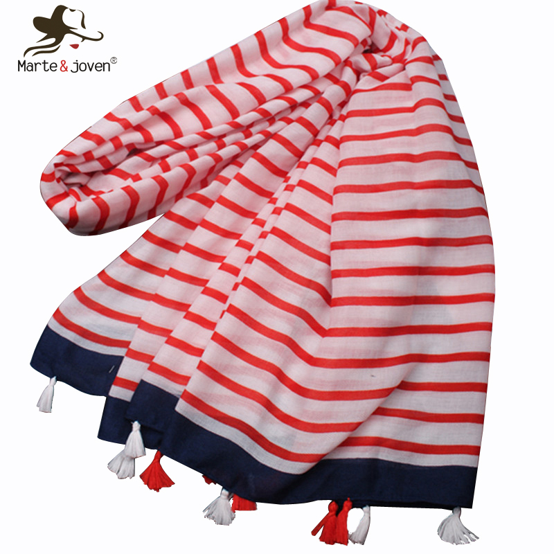 Marte&Joven Classic White Red Striped Tassels   Scarves   Shawl Women Big Size Sunscreen Muslim Hijab Spring Autumn Warm   Scarf     Wraps