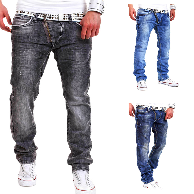New Latest Design Skinny Light Blue Funky Men Jeans Fashion High