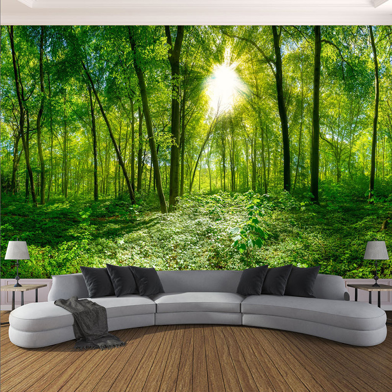 Custom Murals Wallpaper 3D Stereo Green Forest Tree Sunshine Photo Wall Cloth Living Room Bedroom Classic Home Decor Wall Papers