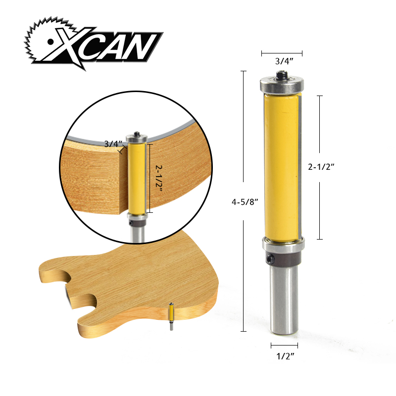 XCAN 1pc Straight  Flush Trim Pattern Router Bit 1/2'' Shank Milling Cutter For Woodworking Tool power tools Slab Milling Cutter machine wood cutter bits 2 double flute straight cutting mdf woodworking router bit flush trim bit mill cutter slot carving tool