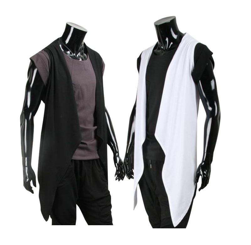 Hairdresser Metrosexual Casual T font b shirt b font Irregular Vest Long Shawl Cotton Cardigan Thin