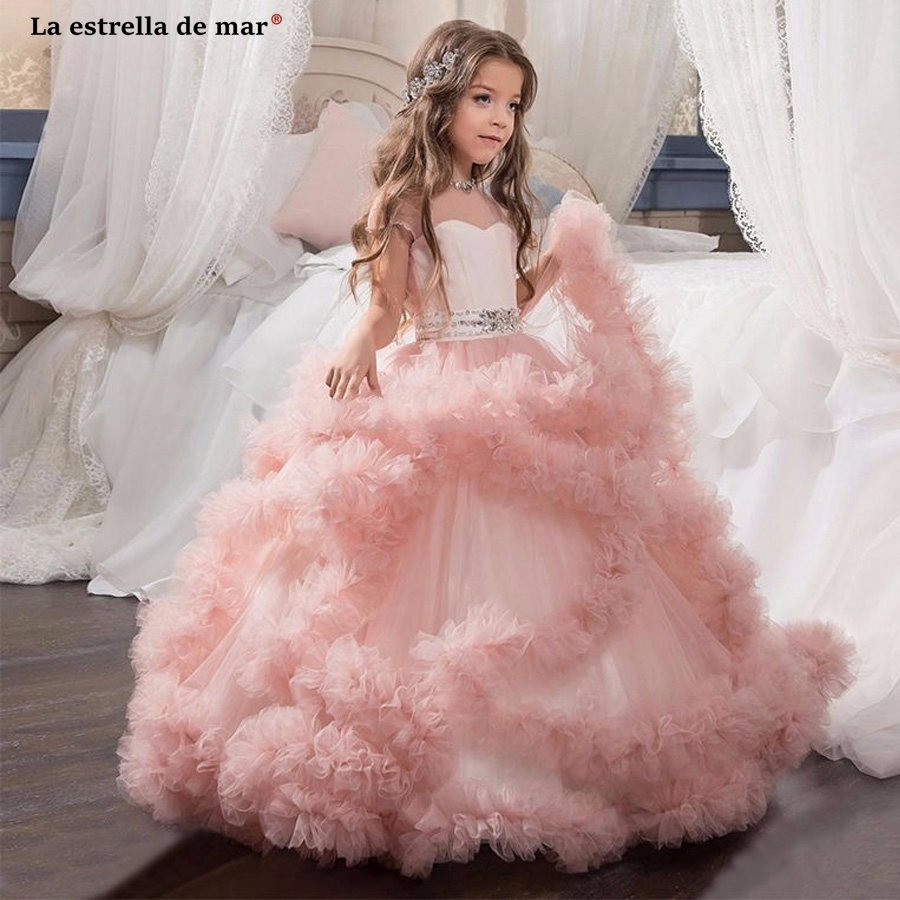 Flower girl dress2018 tulle short sleeve crystal a Line blush pink pageant dresses for girls long plus size ball gowns for girls