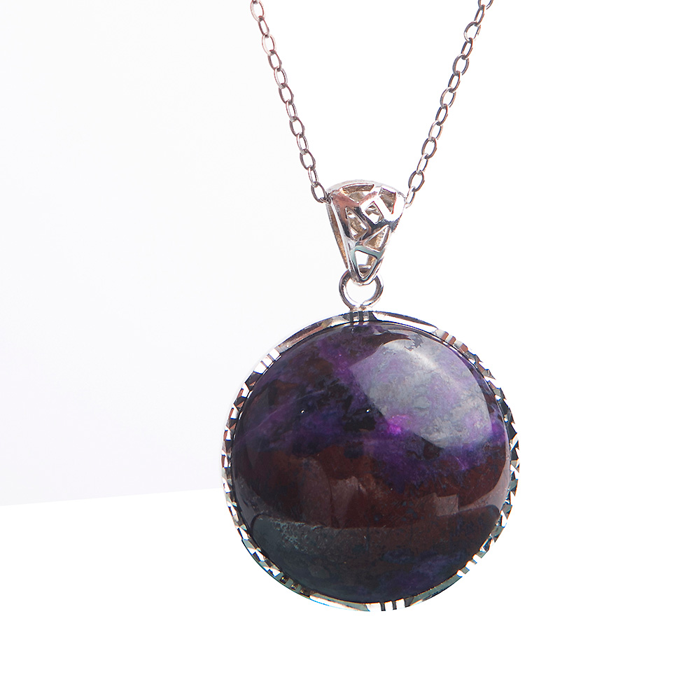 Genuine Jewelry Pendants Natural Sugilite Gem Crystal Round Bead Silver Pendants Necklace For Women Men 26*26*7mm unique geometric faux gem embellished floral pendants beads necklace for women