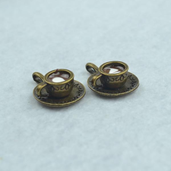 5pcs Enamel coffee charms antique bronze cup metal pendants fit diy necklace bracelet charms for Jewelry making 1786