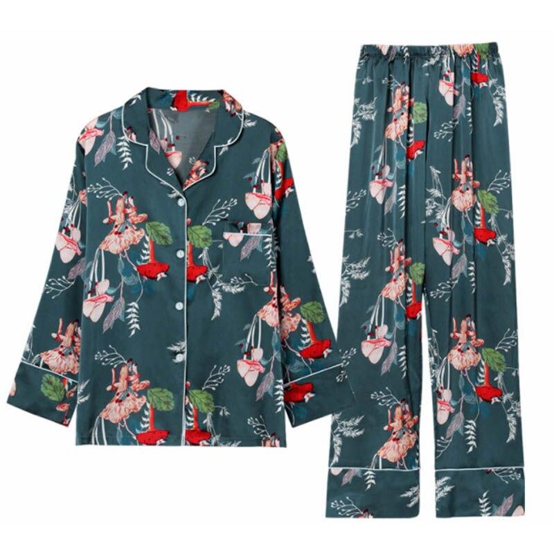 MJ046A 7 Pic Satin Pyjamas Women Pyama Woman Silk Pijama Mujer Sexy Lingerie Floral Pijama Feminino Pigiama Donna Pyjama Femme in Pajama Sets from Underwear Sleepwears