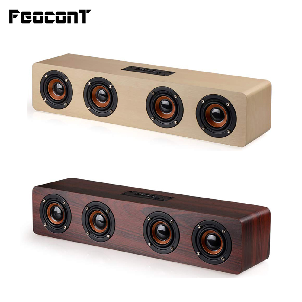 Wireless Bluetooth Speaker 12W Portable Subwoofer Wooden Home Audio Support TF FM Column Speakers For Outdoor PC Phones-in Portable Speakers from Consumer Electronics