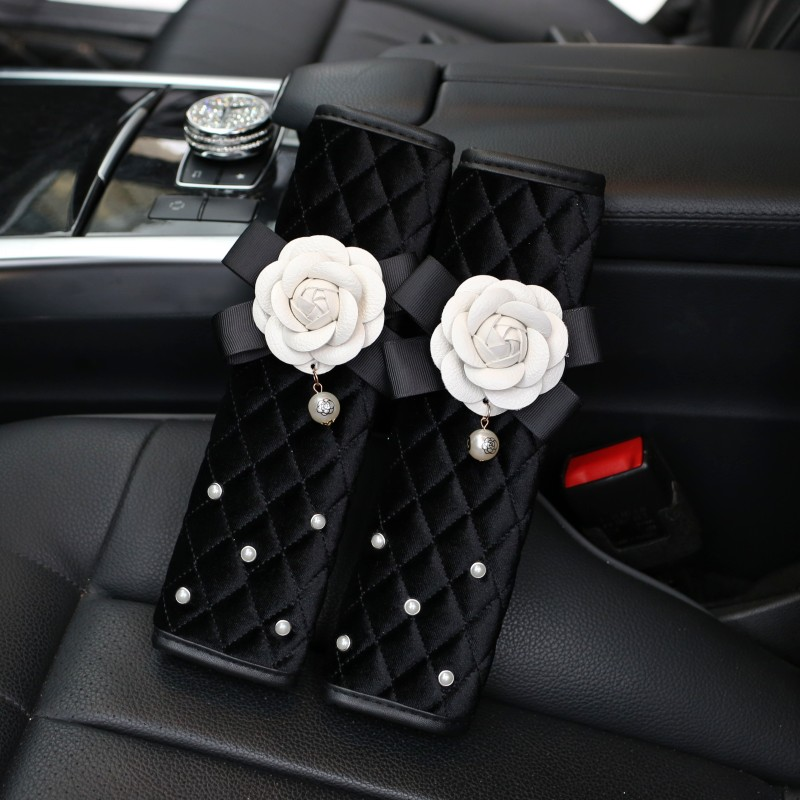 Winter-Plush-Flower-Car-Seat-Interior-Accessories-Crystal-Steering-Wheel-Cover-Headrest-Shifter-Gear-Cover-7