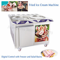 55cm Big Pan+6 Compartments Fried Rolled Ice Cream Electric Yogurt Roll Machine with Built in Freezer Digital Control