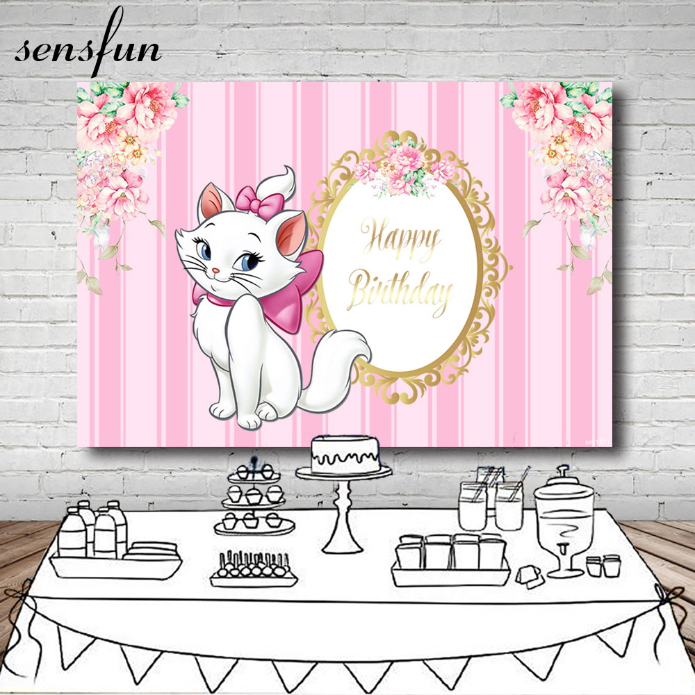 Sensfun Beautiful Lazy Cat Backdrop For Girls Pink Theme Flowers Gold Frame Photography Backgrounds Vinyl 7x5FT(China)