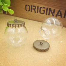 NEW 100sets/lot 30mmdia. 20mm opening clear glass globe small crown base 8mm cap set (no filler) pendant Jewelry accessory