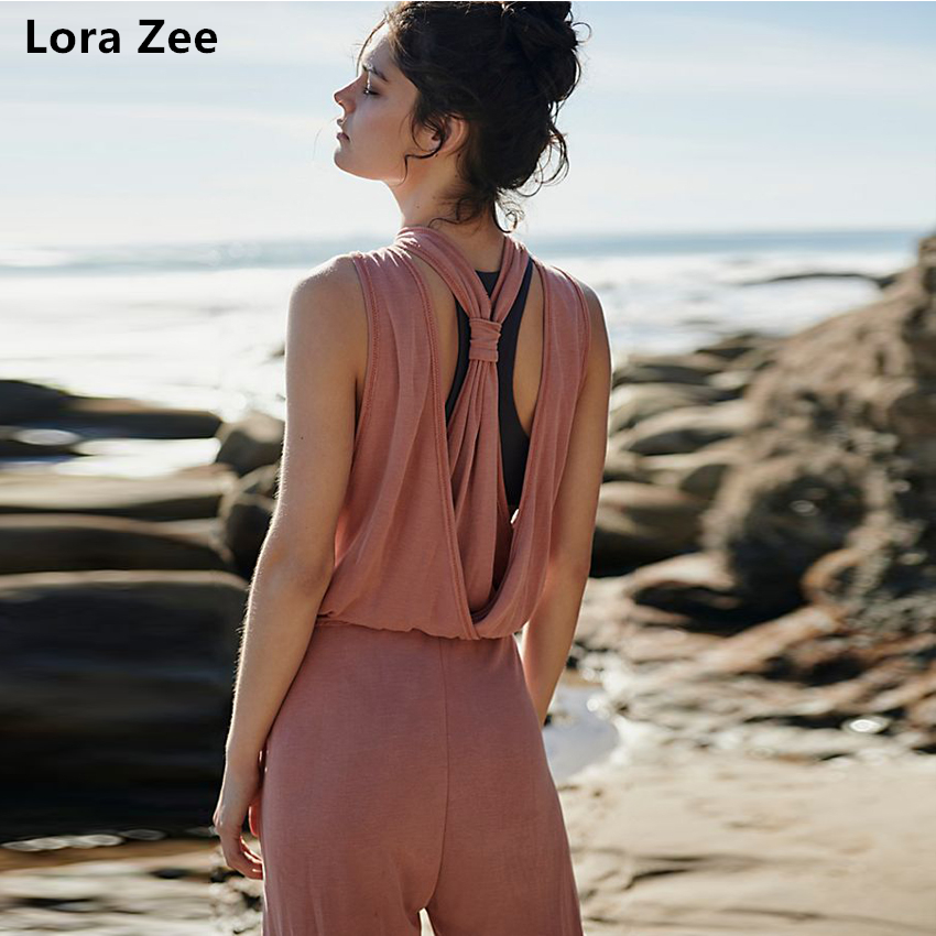 LORA ZEE Dive In Jumpsuit for women drawstring waist fitness clothing open back gym cloth sport tracksuit loose yoga set 2018