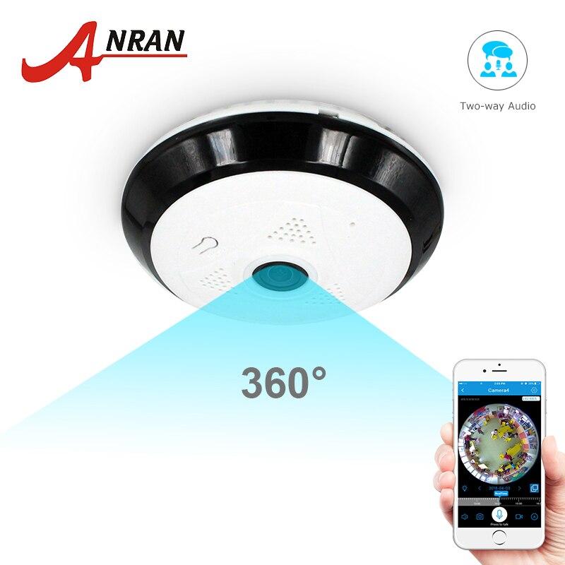 Anran 960 p wifi câmera panorâmica de 360 graus de segurança em casa em dois sentidos áudio visão noturna fisheye câmera de vigilância
