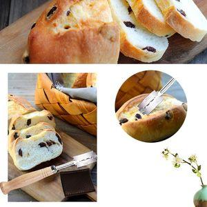 Image 3 - Đặc Sản Bánh Mì Cung Cong Dao Cán Gỗ Bộ 5 Lưỡi Dao Thay Thế Tây Baguette Cắt Vị Pháp Bagel Dao Cắt