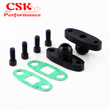 2 Pcs Turbo Oil Drain Outlet Flange Gasket Adapter Kit 10AN Male Fitting T3 T4 Black/Silver